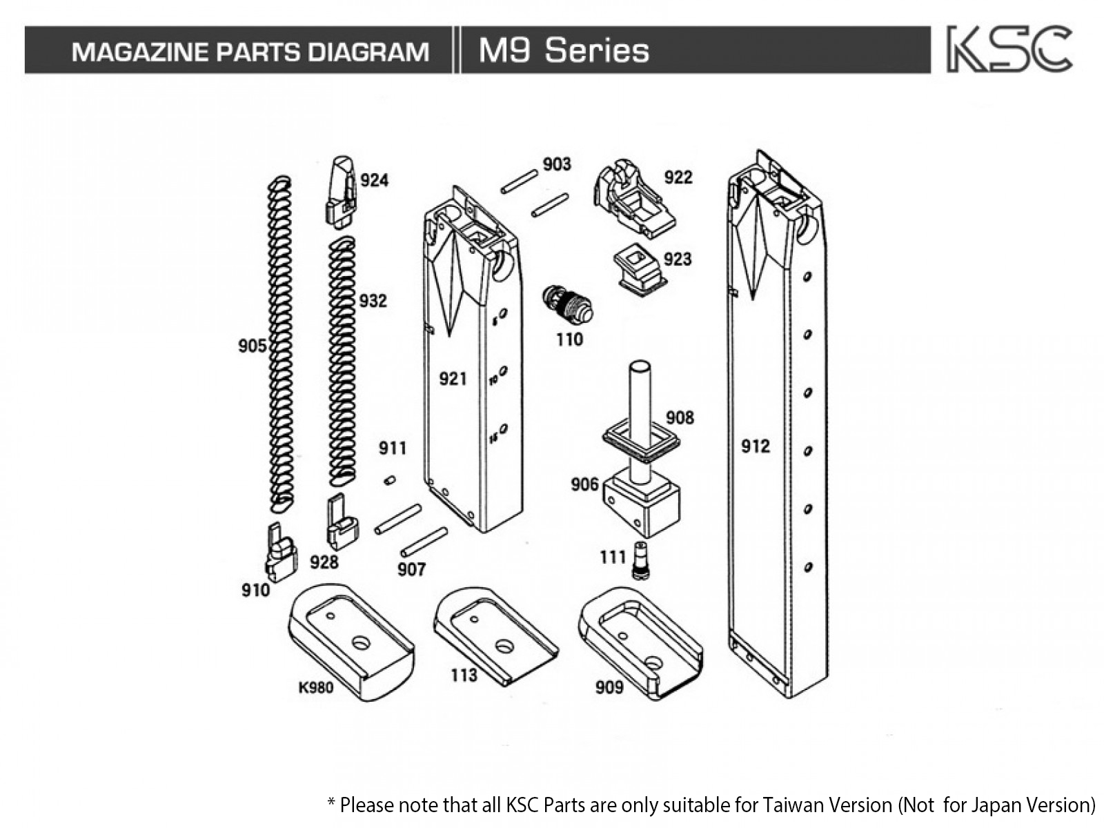 ksc m9 parts | rainbow8 company m9 parts diagram reese fifth wheel hitch parts diagram #7